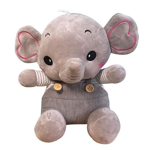 Peluche Elefante Marshmallow Gris Con Traje De Tela Suave