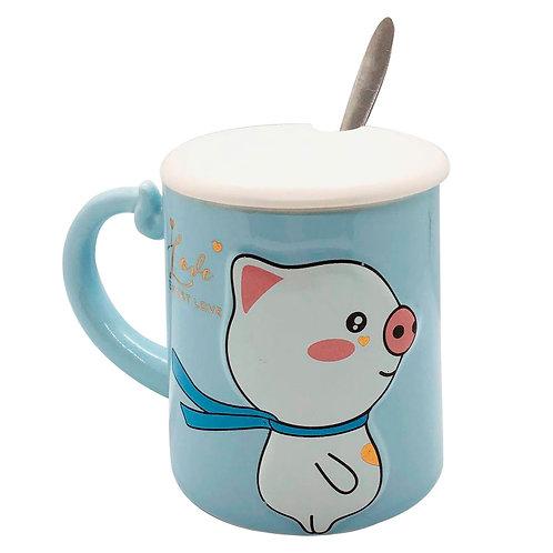 Mug Azul Cerdito Taza Con Cuchara Y Tapa De Cerámica