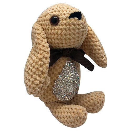 Peluche Conejo Beige En Crochet Juguete Para Coche De Bebé