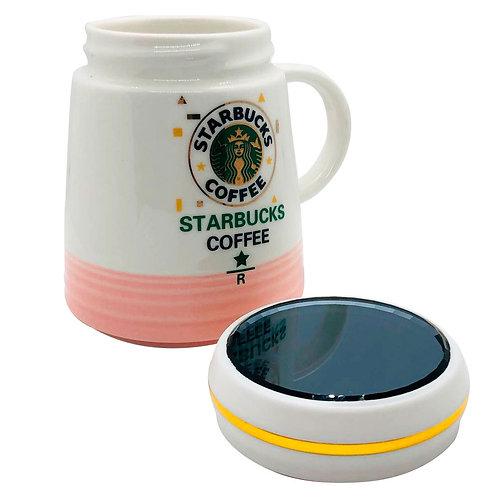Mug Taza Starbucks Cofee Cerámica Resistente Rosado Y Blanco