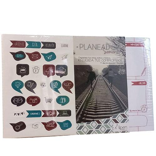 Cuaderno Block Planeador Alpen Con Stickers De 60 Hojas