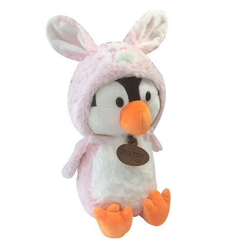 Peluche Pinguino Conejo Rosado