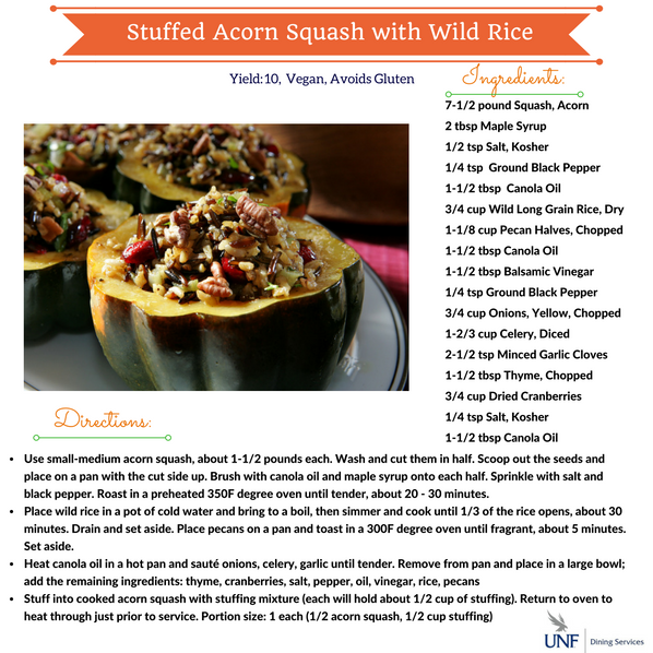 Stuffed Acorn Squash with wild rice ingredients and directions.