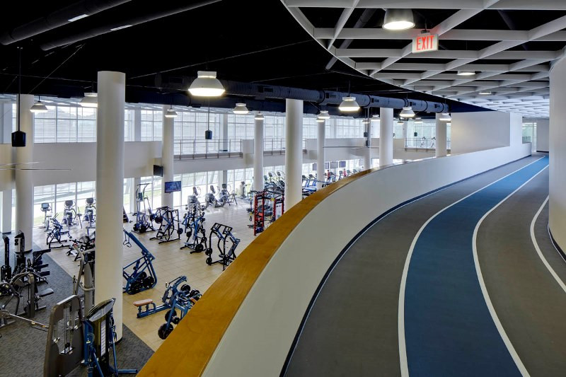 indoor track upstairs at a gym