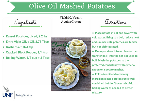 Olive Oil Mashed potatoes with ingredients and directions.