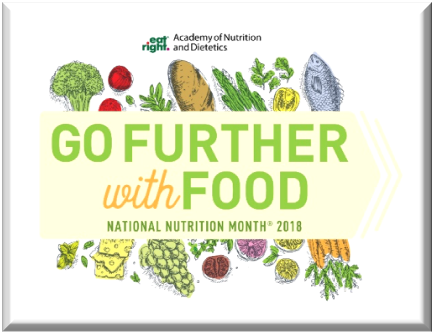 """Go Further with Food"" National Nutrition Month 2018 logo."