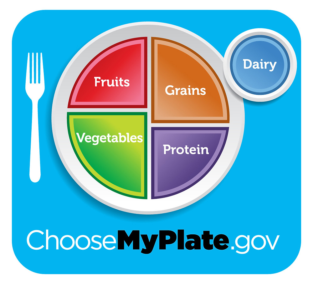 Choose my plate logo showing the food groups and their portion sizes on a plate.