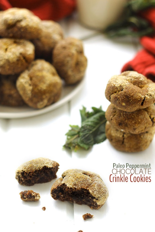 Paleo peppermint chocolate crinkle cookies.