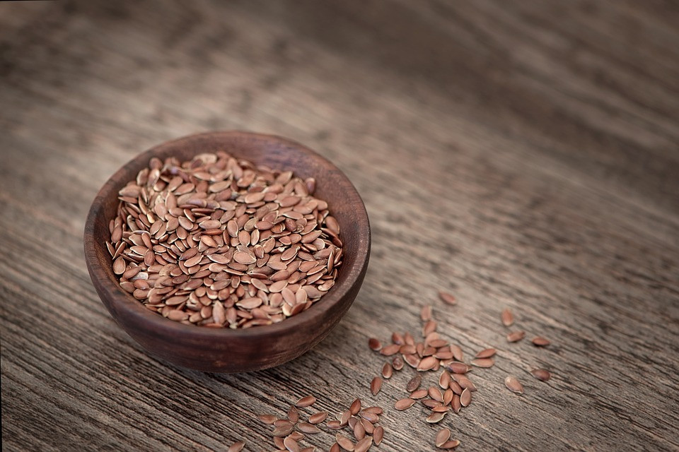 Flax seeds in a small bowl.