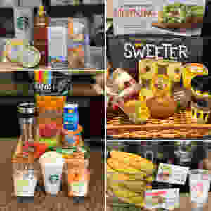 A bunch of snack options offered at outtakes, Starbucks, and Jamba Juice.