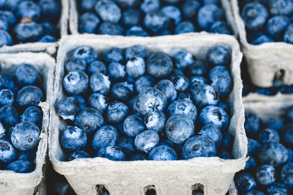 Blueberries in carts.