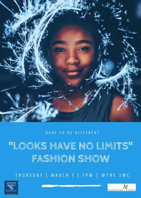 A poster for the Looks Have No Limits Fashion Show.