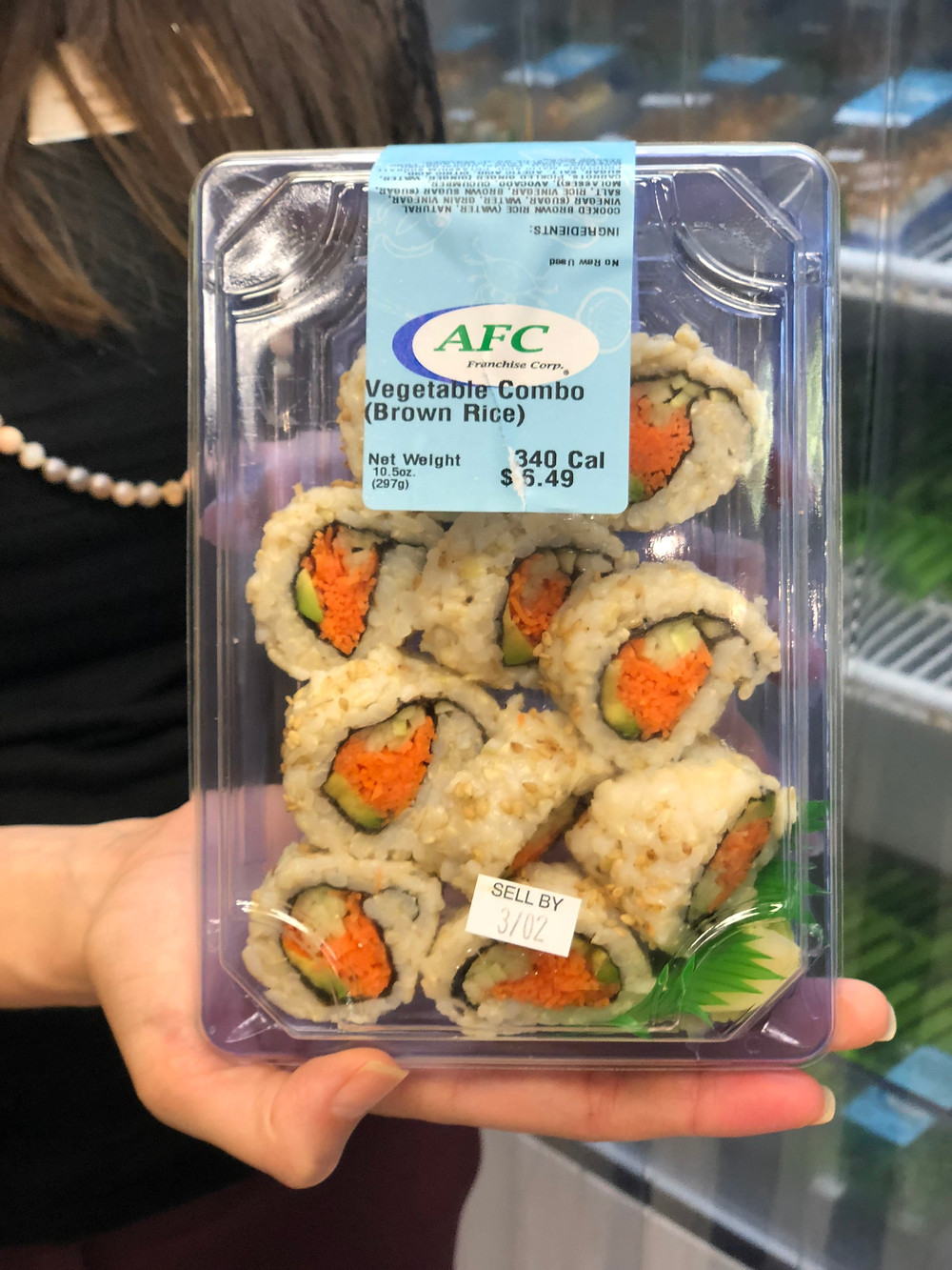 Vegetable and brown rice sushi.