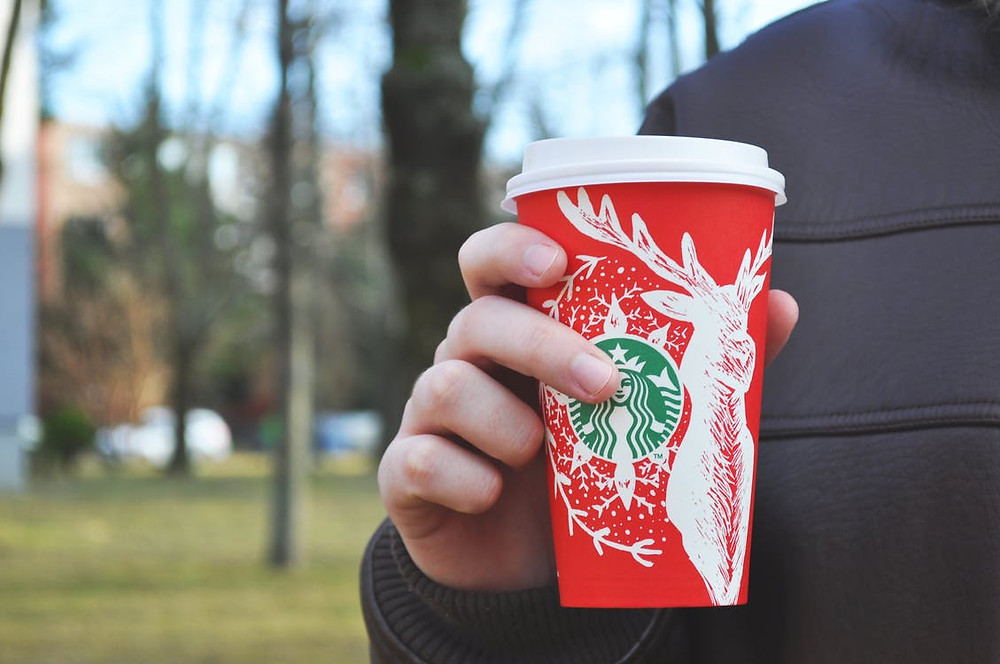 Starbucks cup with a moose on it.