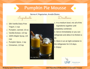 Pumpkin Pie mousse with ingredients and directions.