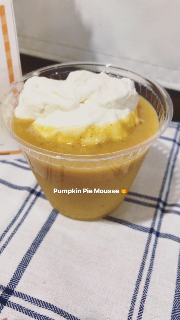 Pumpkin Pie Mousse with whipped cream.