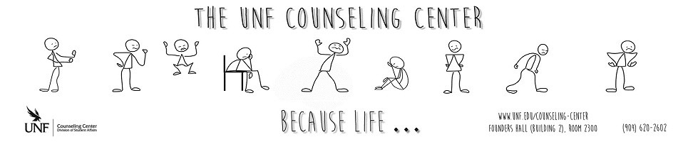 """""""UNF counseling center because life"""" logo with counseling center information."""