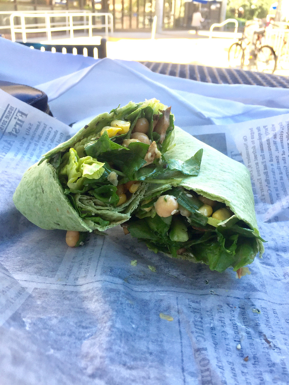 A spinach wrap from Chopped and Wrapped.