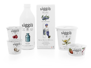 Siggi's yogurt in small sizes, big tub, and kefir.