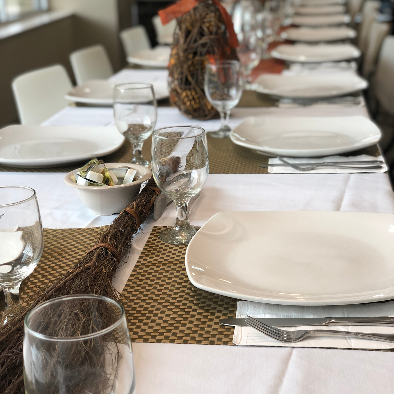 Friendsgiving table set up.