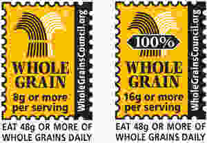 A whole grain poster stating to eat 48g or more of whole grains daily.