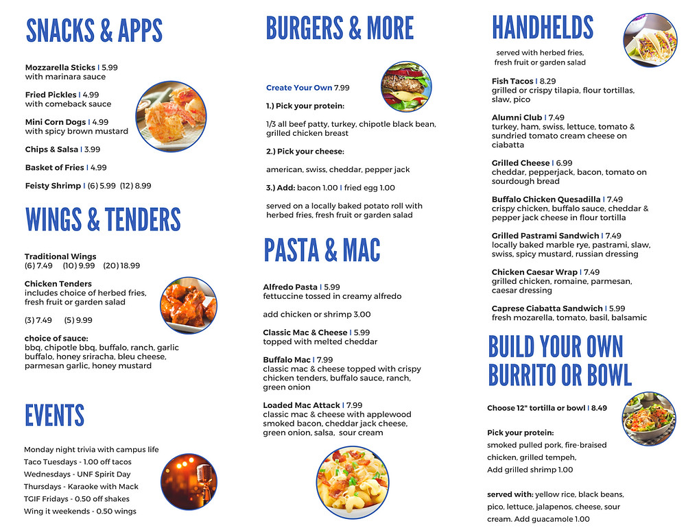 The Boathouse's menu
