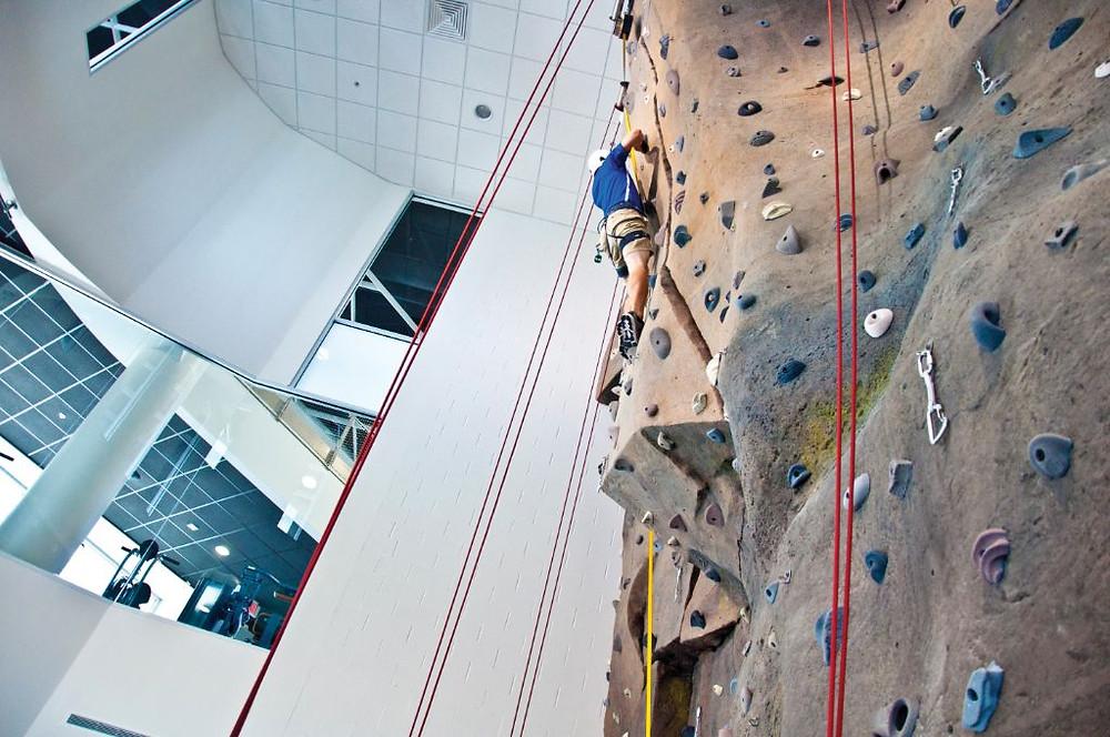 Rock climbing wall at the Wellness Center.