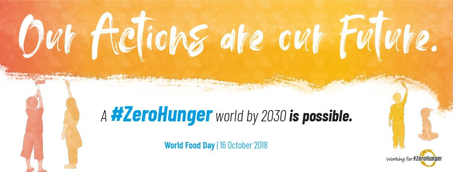"A poster for World Food Day stating that ""Our actions are our Future"""