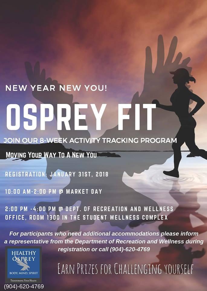 Osprey Fit 8-week activity tracking program registration information.