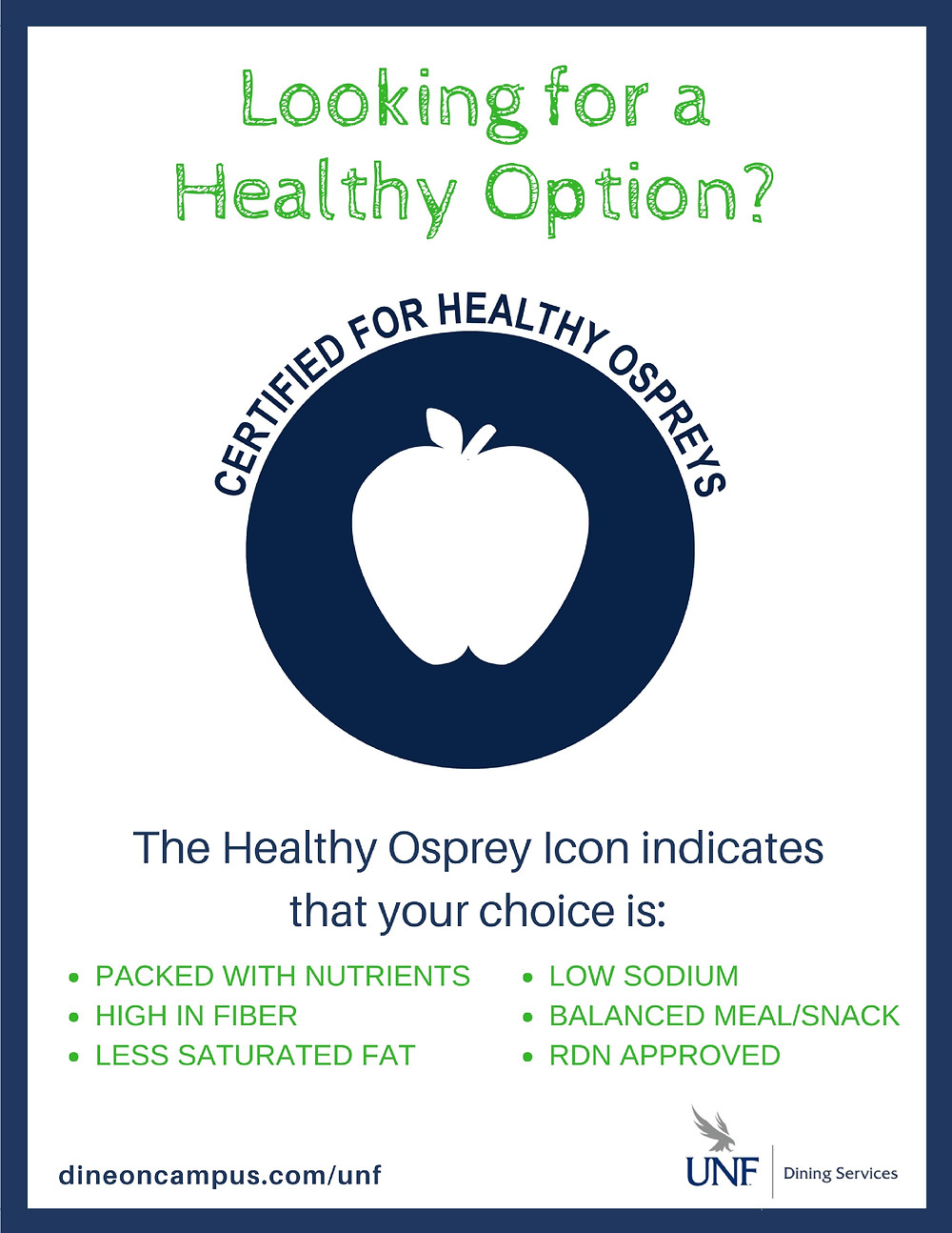 Looking for a healthy option? Certified Healthy Ospreys logo.