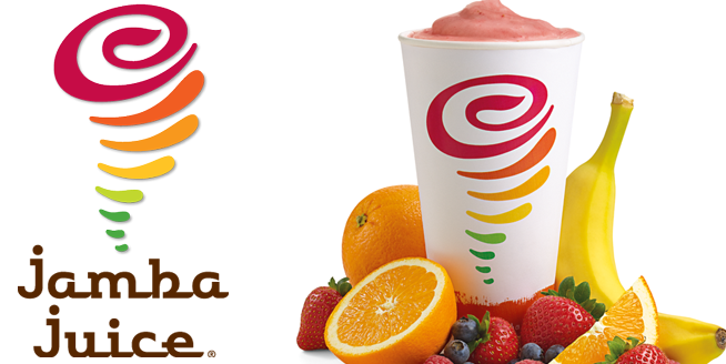 Jamba Logo and a smoothie from Jamba.