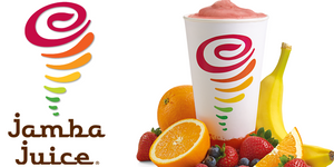 Jamba Logo and a smoothie from Jamba.