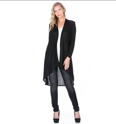 Cardigan Super Soft Long Sleeve High Low Front Drape-Black