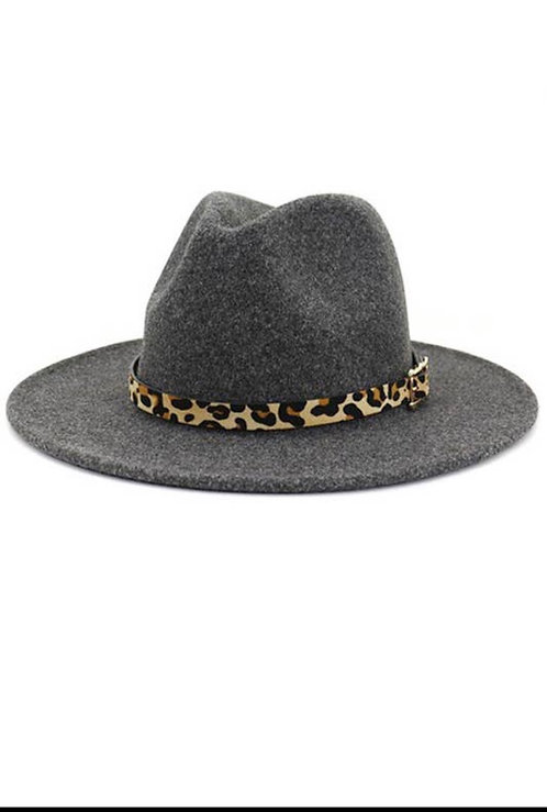 Leopard band jazz wool top hat