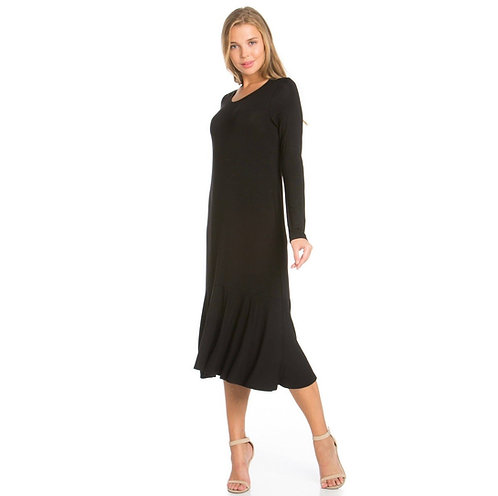 Maxi Dress Long Sleeve-Black