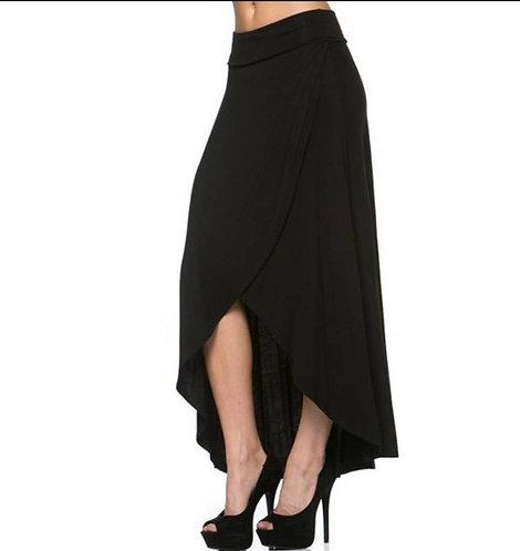 High-Low Side Slit Maxi Skirt | BLACK