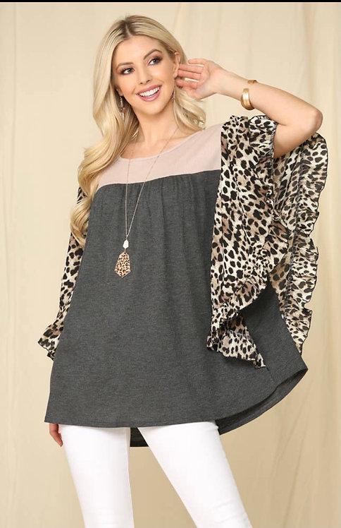 Leopard print sleeve blouse
