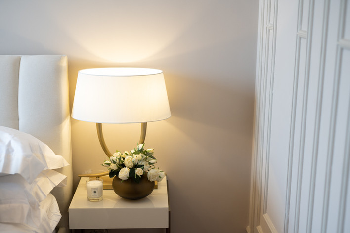 Guest bedroom bedside table by Creative Heritage Interiors