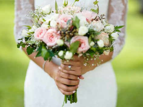 Romantic bridal bouquet of Blush Roses and White wild Roses.