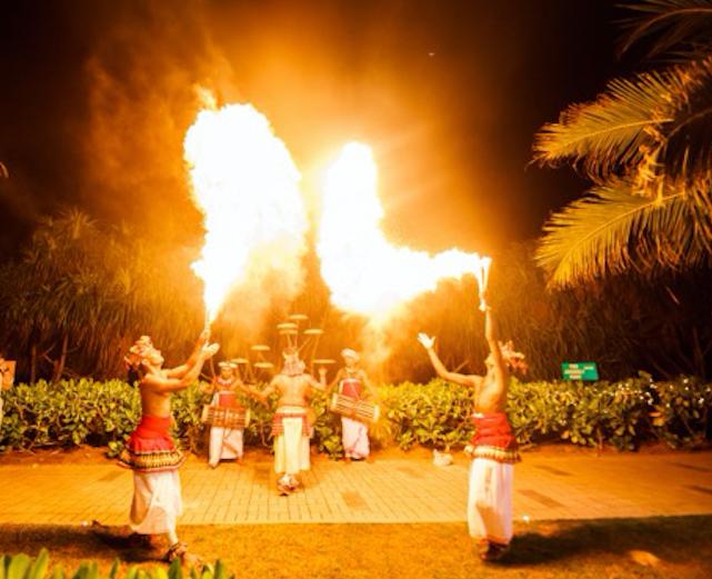 Traditional Sri Lankan fire dancers at destination wedding