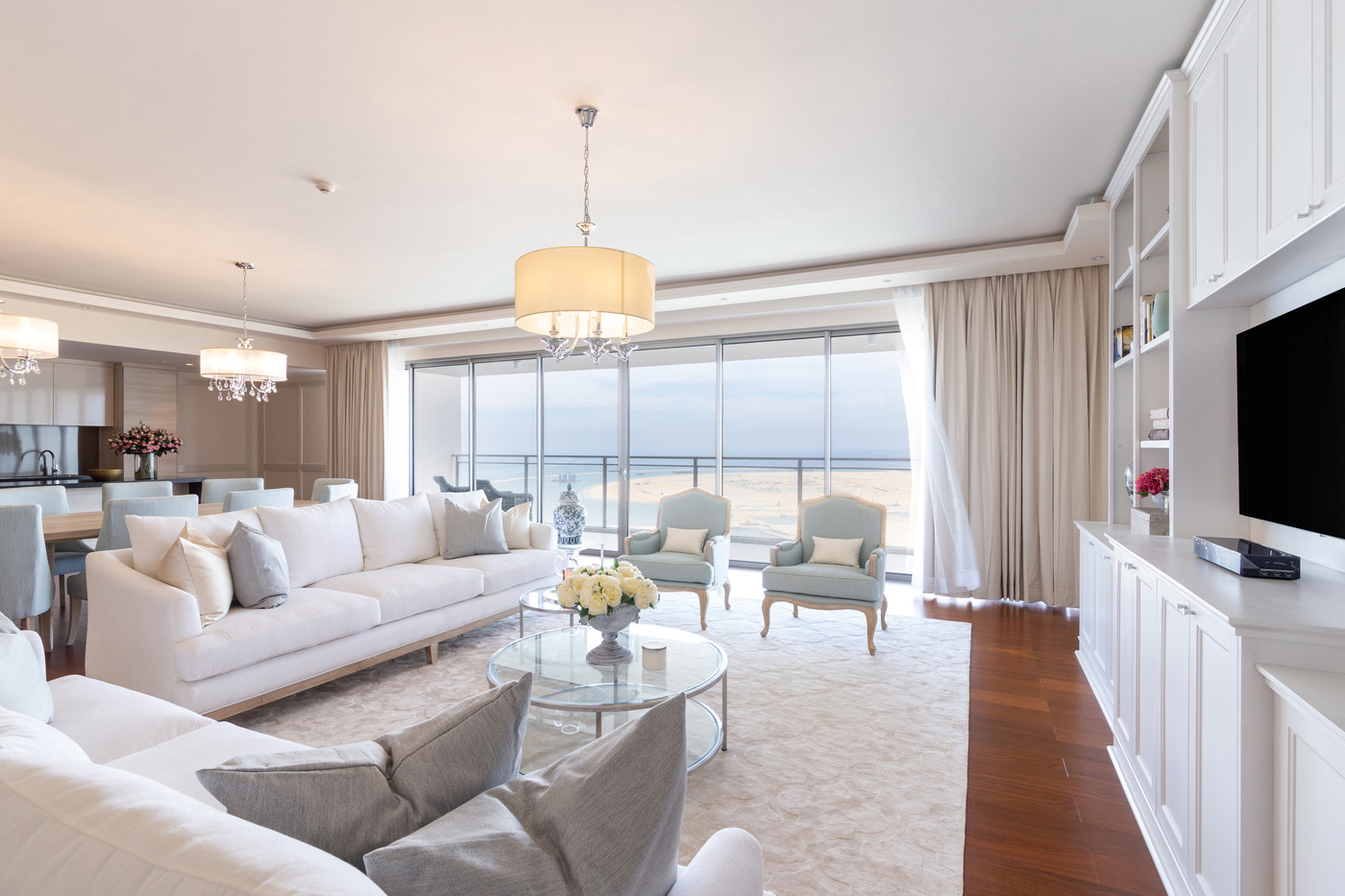 Living room in One Galle Face Residences by Creative Heritage Interiors