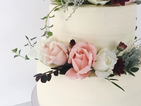 Two tier soft Buttercream Wedding cake