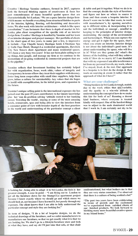 Yasmine Samarasinghe Creative Heritage In Vogue Magazine