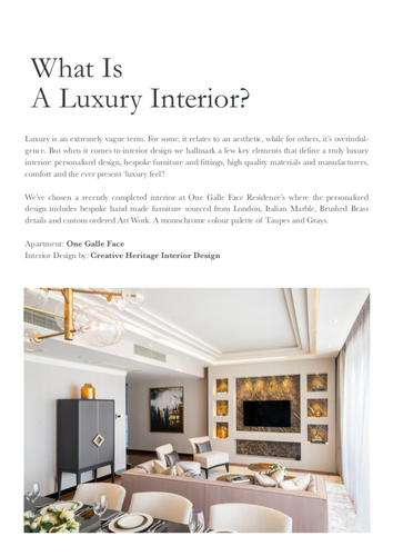 Creative Heritage in Condo Living Magazine Sri Lanka