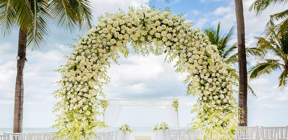 Destination wedding ceremony decor