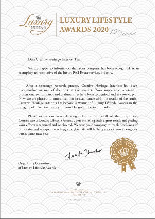Creative Heritage Winner Best Luxury Int