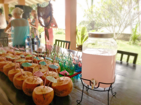 No tropical wedding is complete without King Coconuts with drink umbrellas, not to mention the Guava Punch!