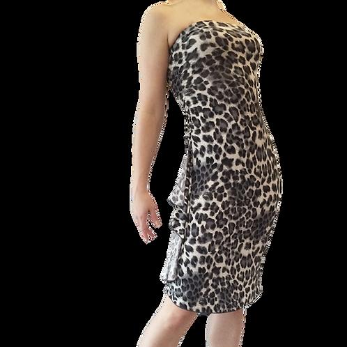 Gray cheetah strapless