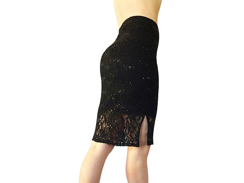 Black Sequined Lace Pencil skirt