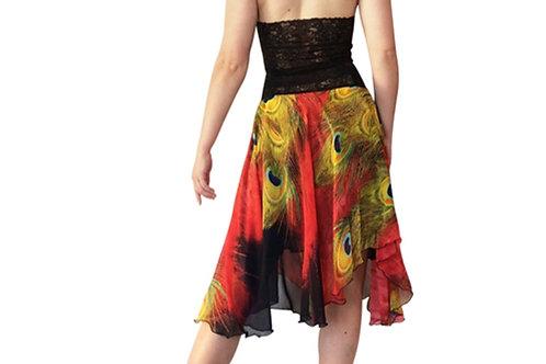 Red Peacock chiffon circle skirt